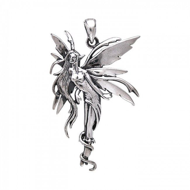 Amy Brown Firefly Fairy pendant sterling silver