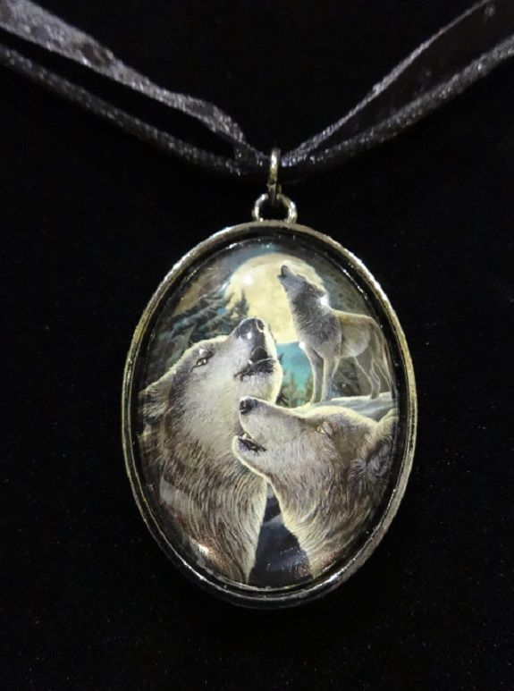 Wolf Song glass cabochon necklace - Lisa Parker