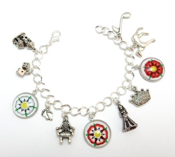 White Princess Bracelet - Tudor charm bracelet - Elizabeth Of York