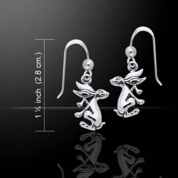 Hare bunny rabbit sterling silver drop earrings by Peter Stone .925 solid silver