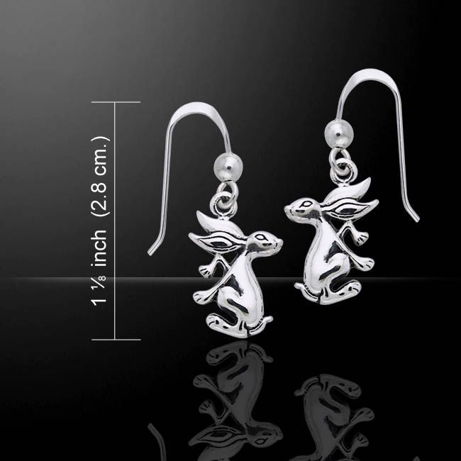 Hare bunny rabbit sterling silver drop earrings by Peter Stone .925 solid s