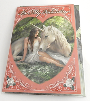 Pure Heart Be My Valentine Greetings Card by Anne Stokes unicorn fairies range