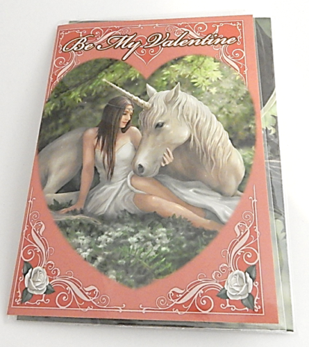 Pure Heart Be My Valentine Greetings Card by Anne Stokes unicorn fairies ra