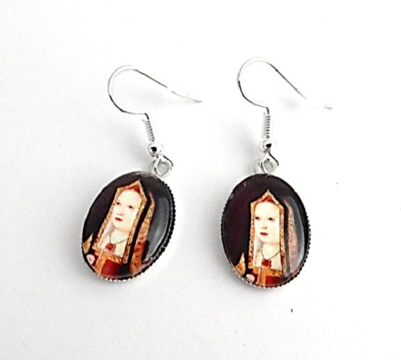 Elizabeth of York portrait earrings - Henry VIII mother - Tudor Queen - Med