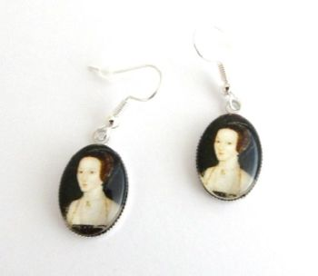 Anne Boleyn portrait earrings - Henry VIII wife - Tudor Queen - Medieval re-enactment jewellery - Reformation - English History