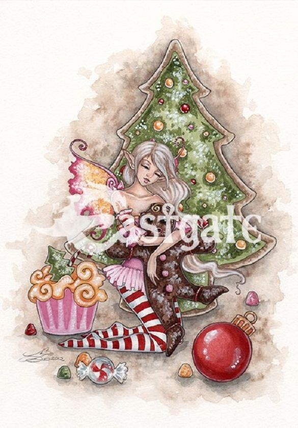 Amy Brown Twas the night before Christmas fairy  Greetings Card