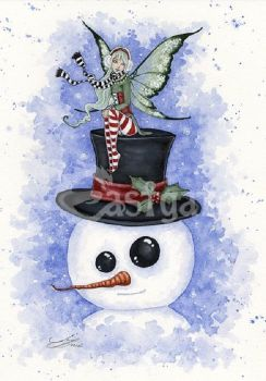 Amy Brown Frosty Friends fairy  Greetings Card