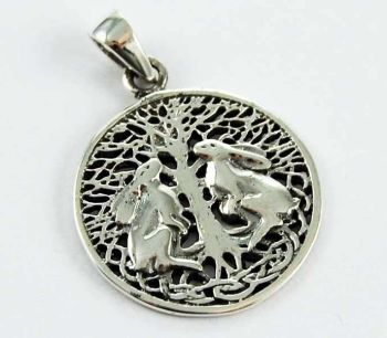 Double Hares necklace by Lisa Parker silver