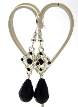 Black crystal dropper earrings