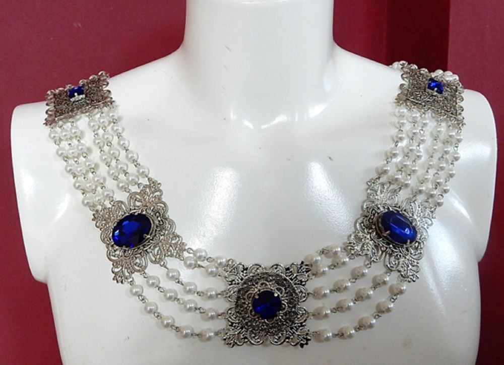 Chain Of Office Silver and Sapphire Blue with Pearls