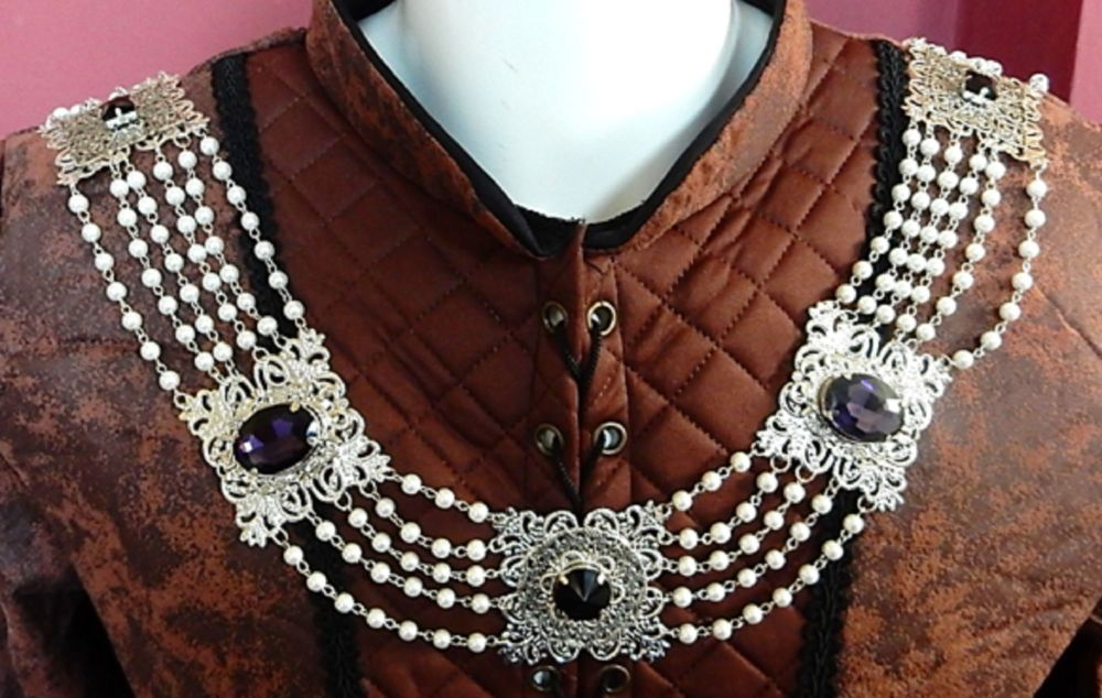 Chain Of Office Silver and royal purple with Pearls