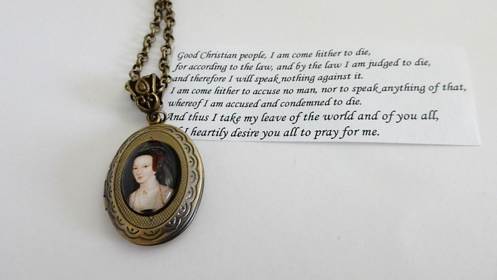 Anne Boleyn locket necklace - with quote inside