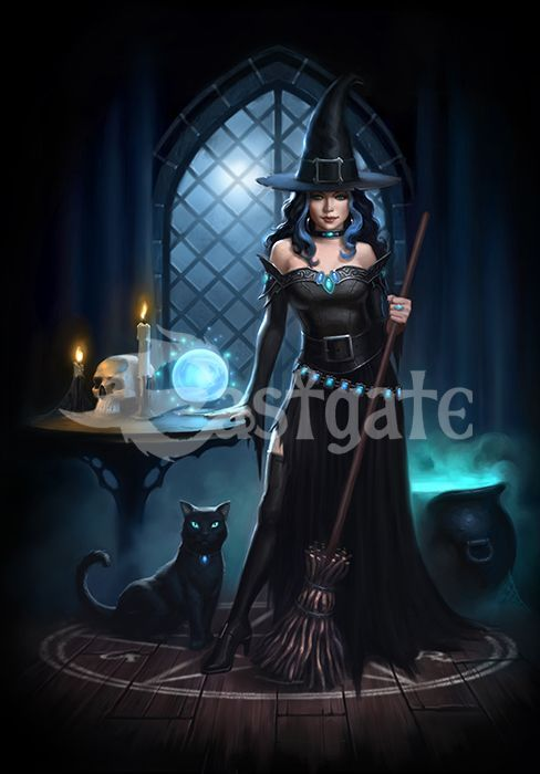 Witches Lair greetings card   by artist James Ryman