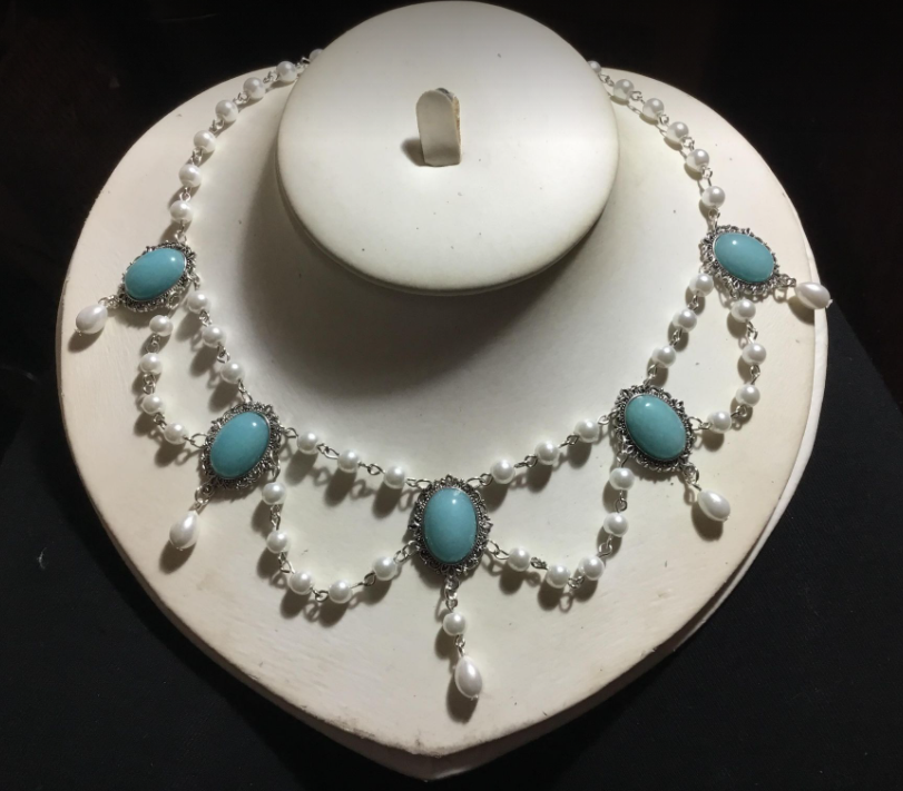 Tudor Lady In Waiting pearl and turquoise necklace
