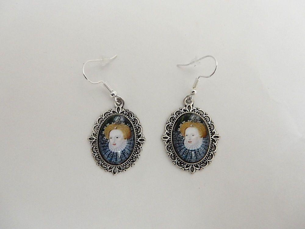 Queen Elizabeth earrings - historical portrait jewellery - miniature portra