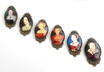 Henry VIII six wives brooch pin -  individual piece - Catherine of Aragon, Anne Boleyn, Jane Seymour, Anne of Cleves, Howard, Parr