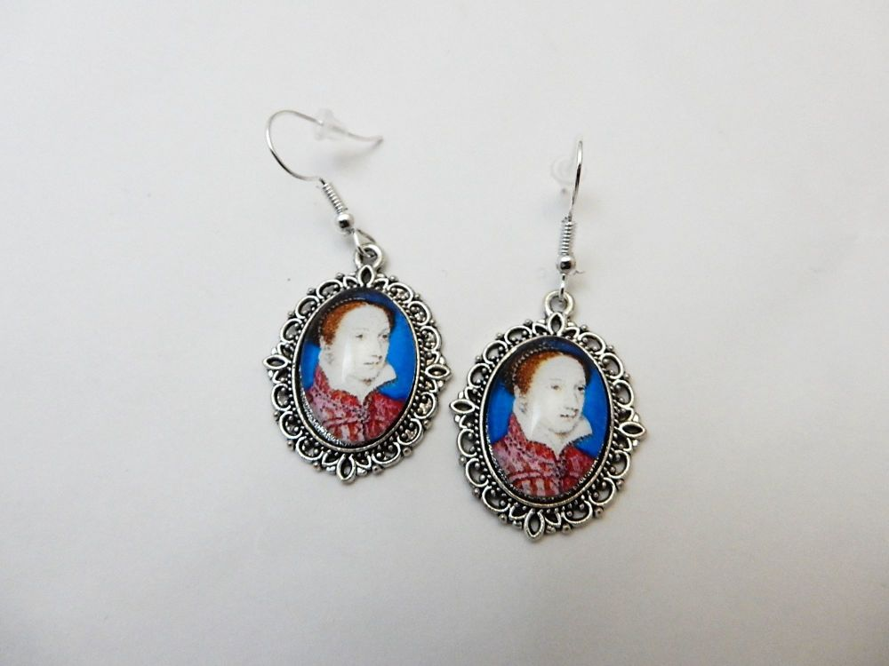 Mary Queen Of Scots earrings - historical portrait jewellery - miniature po