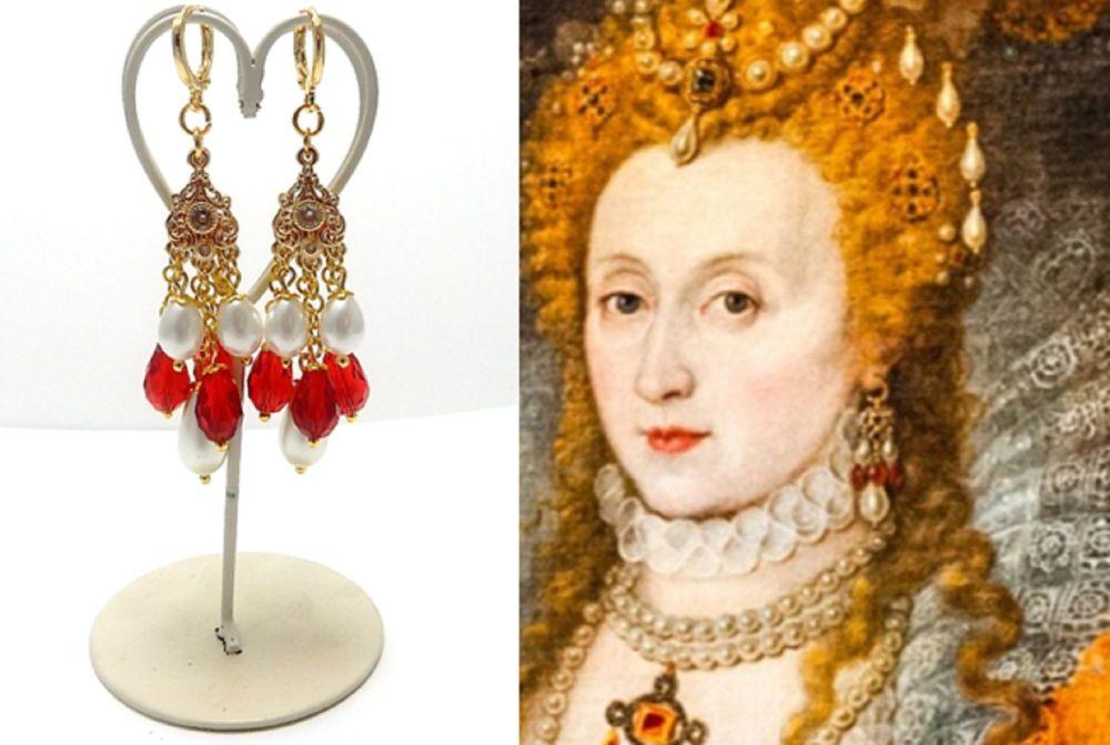 Elizabeth 1st replica earrings - The Rainbow Portrait