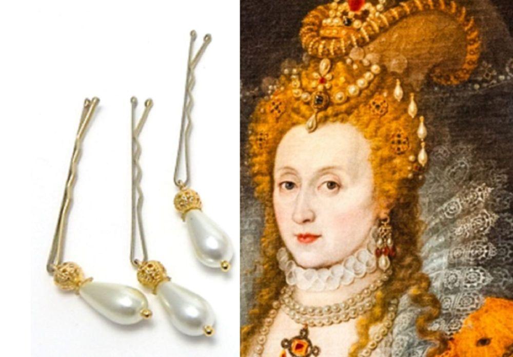 Elizabeth 1st replica hair pearls or hair pins