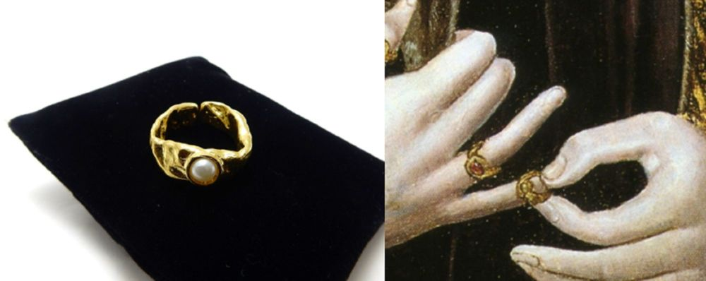 King Richard III Medieval Ring - raw brass ring with faux pearl - Plantagen