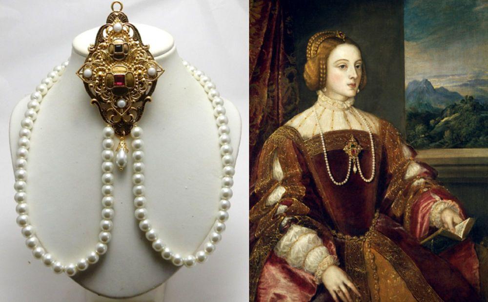 Isabella of Portugal portrait replica necklace