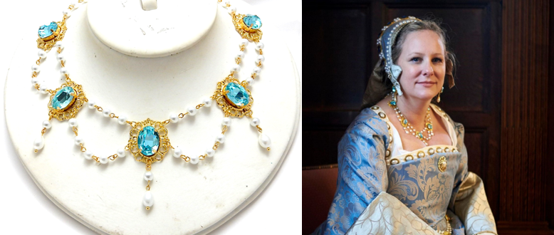 Tudor Queen Pearl Drop Necklace - many colours