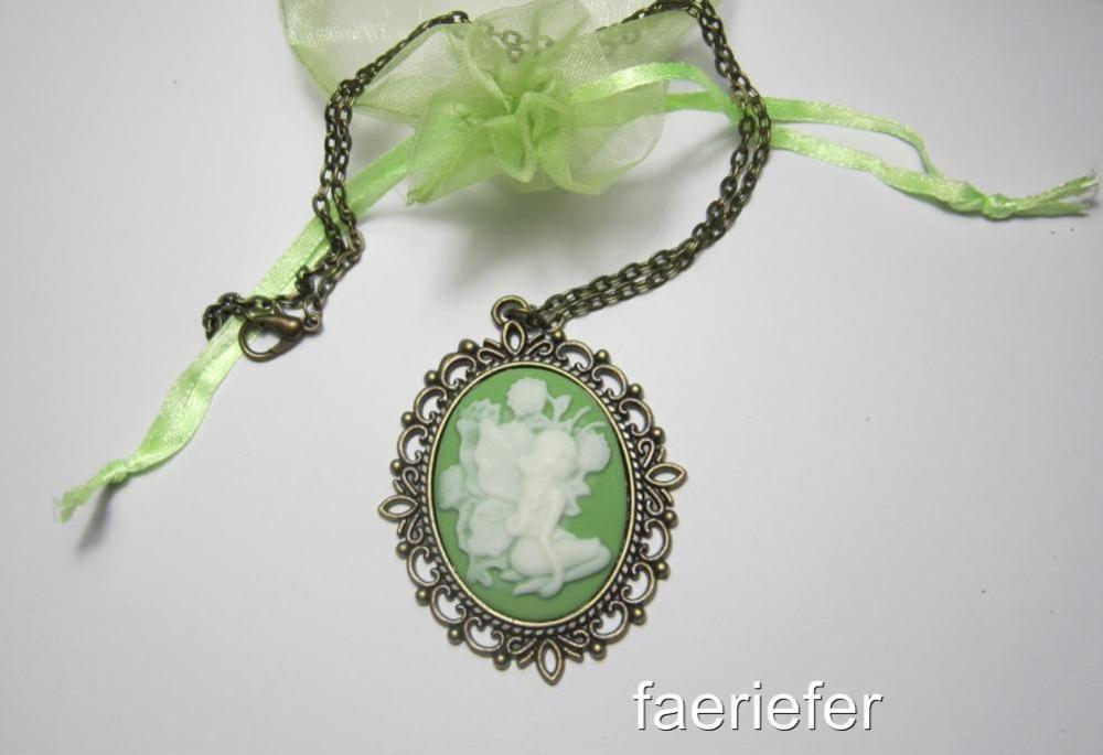 Antique bronze fairy cameo necklace