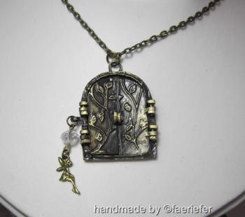 Vintage style bronze fairy portal necklace