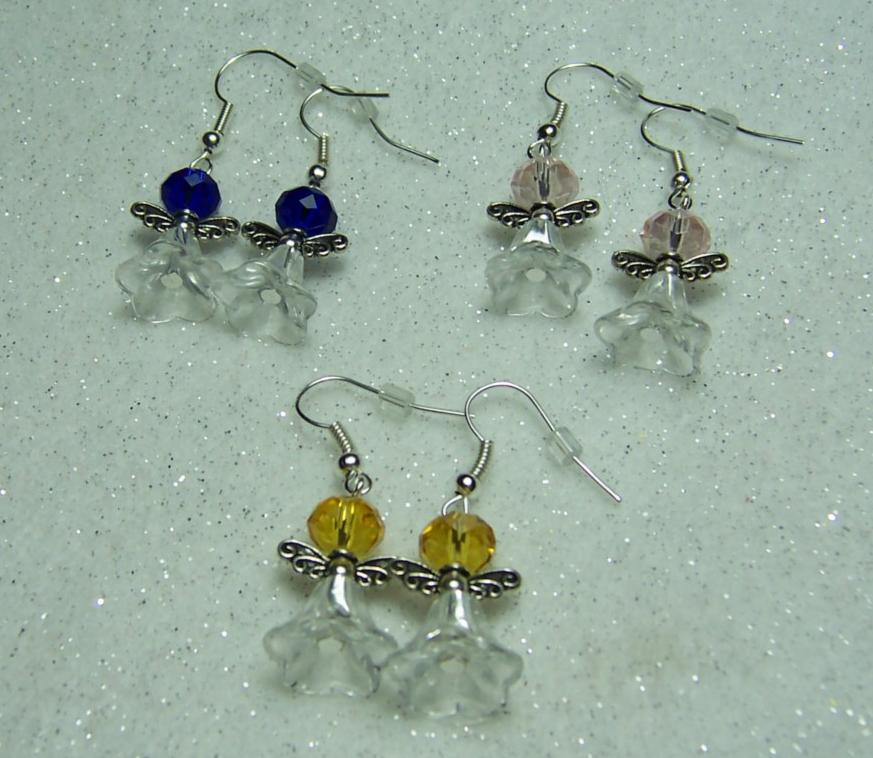 Crystal Fairy Earrings with glass flower bell beads