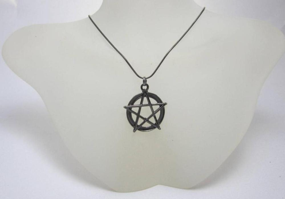 Gun metal Pentagram necklace