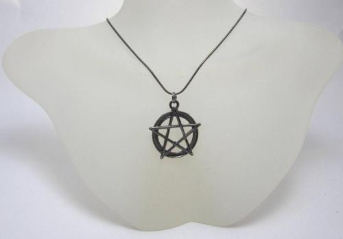 Gun metal Pentagram necklace