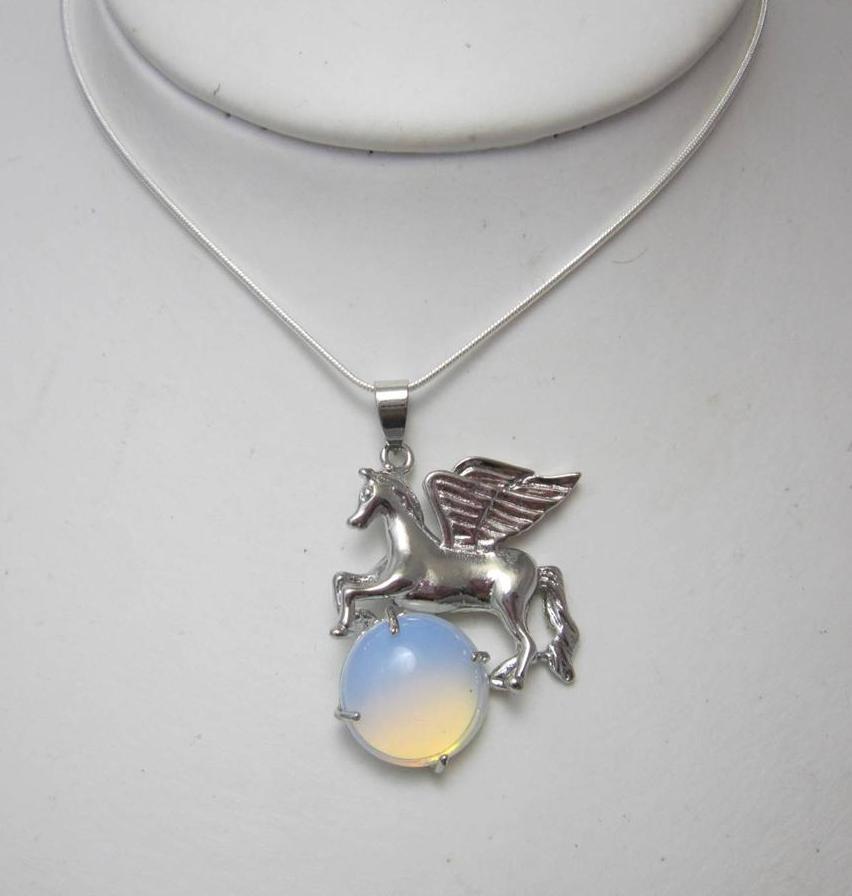 Moonstone Pegasus necklace
