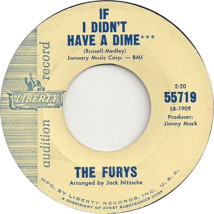 THE FURYS - IF I DIDN'T HAVE A DIME (DEMO)