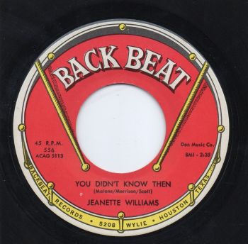 JEANETTE WILLIAMS - YOU DIDN'T KNOW THEN