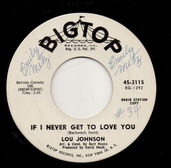 LOU JOHNSON - IF I NEVER GET TO LOVE YOU
