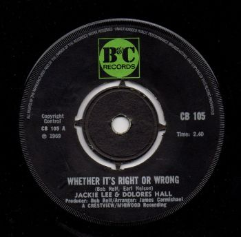 JACKIE LEE & DOLORES HALL - WHETHER IT'S RIGHT OR WRONG