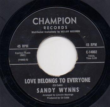 SANDY WYNNS - LOVE BELONGS TO EVERYONE