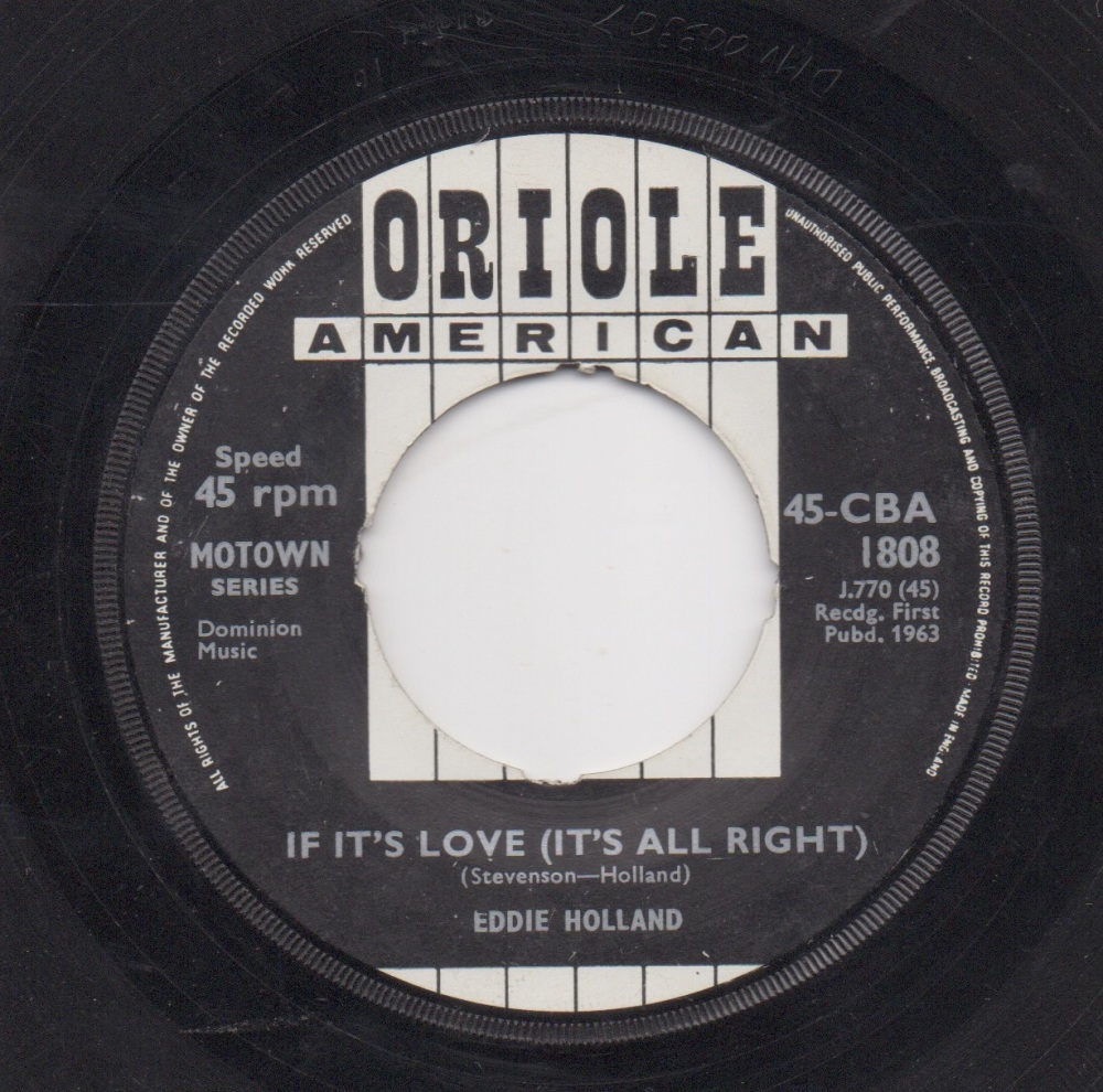 EDDIE HOLLAND - IF IT'S LOVE (IT'S ALL RIGHT)