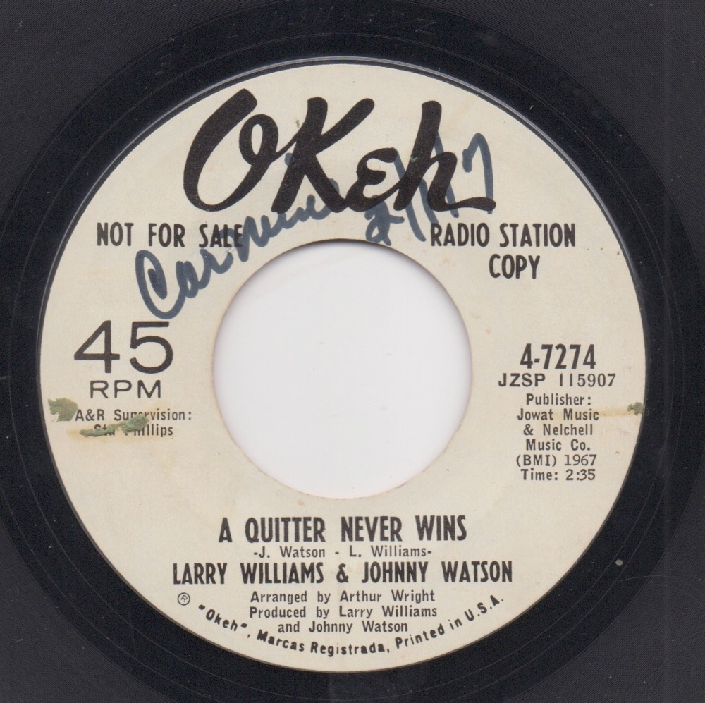 LARRY WILLIAMS & JOHNNY WATSON - A QUITTER NEVER WINS / MERCY, MERCY, MERCY