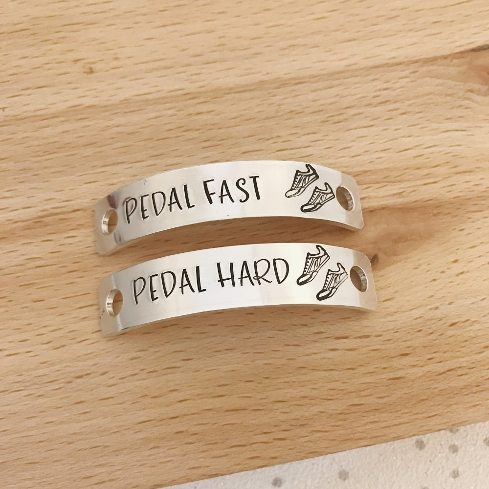 custom shoe lace tags, gifts for cyclists, cycling gifts, bike accessories, shop clips, shoe laces, personalised gift for him, her, Birthday