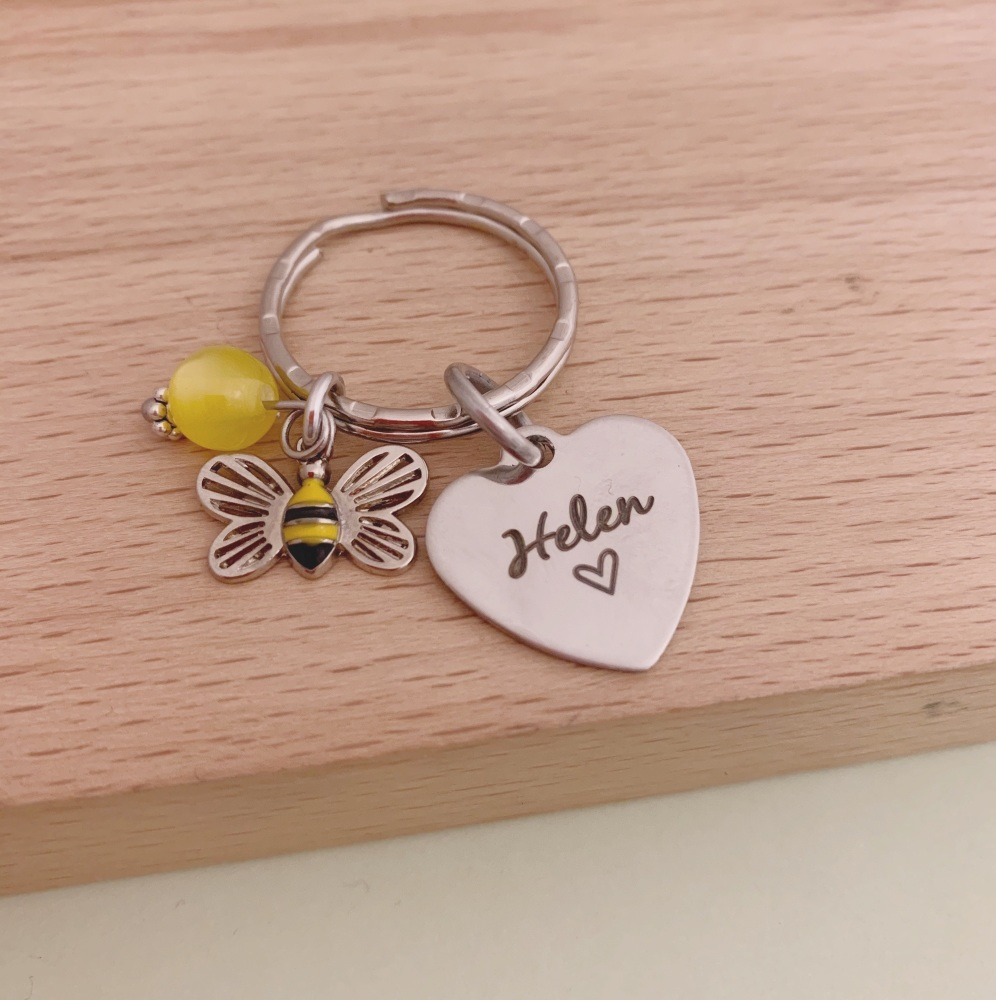 Bee Keyring, Personalised with Name