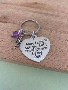 Loss Of Mum Angel Wing Keyring - Purple Bead