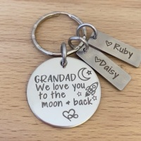 Grandad We Love You To The Moon And Back - Personalised Keyring with Name Tags