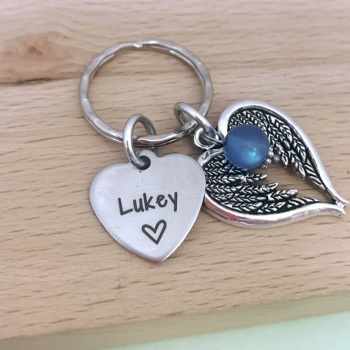 Personalised Angel Wing Keyring - In Memory of/Loss Of Loved One