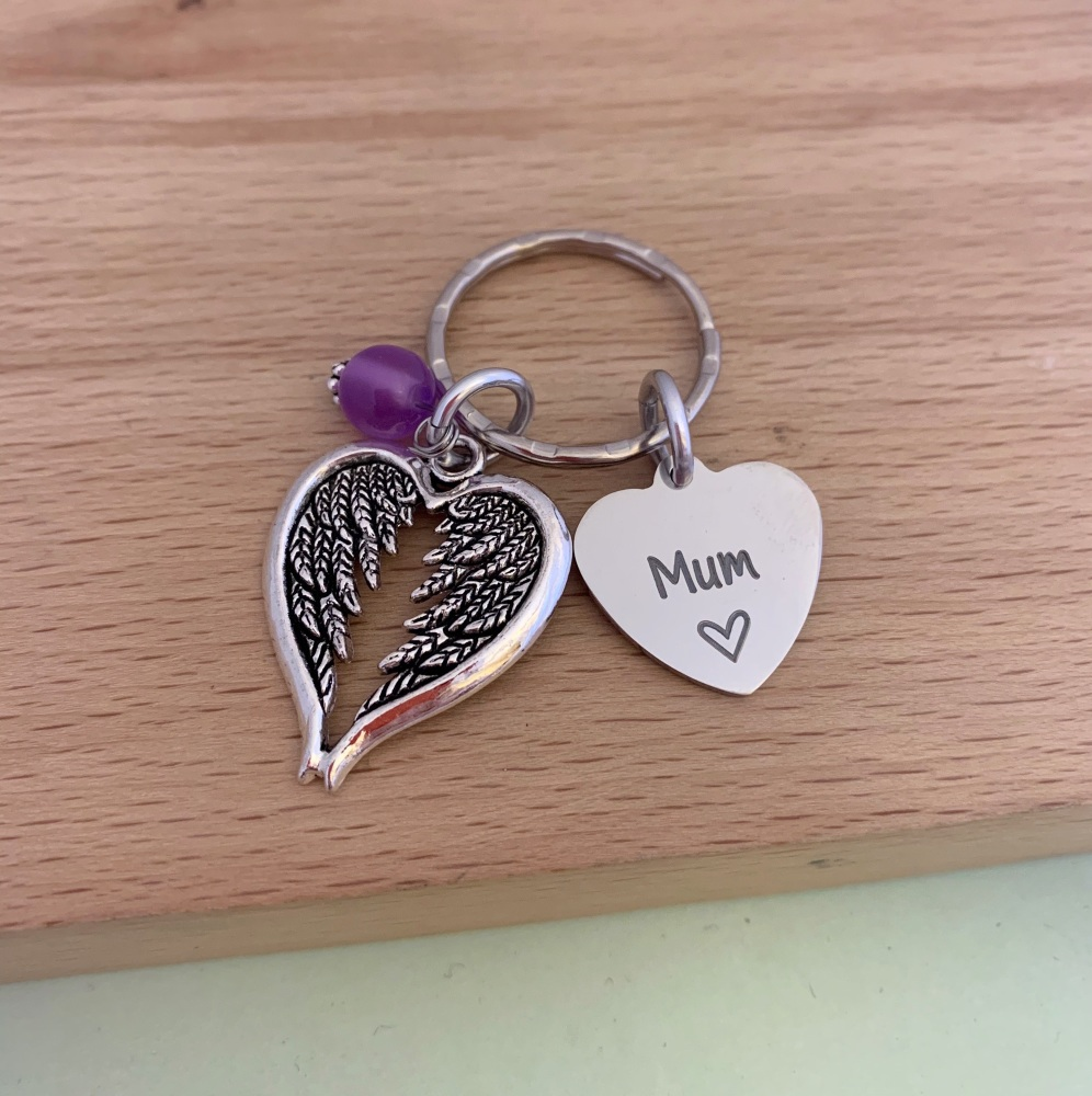 Personalised Angel Wing Keyring, In Memory of, Loss Of Loved One
