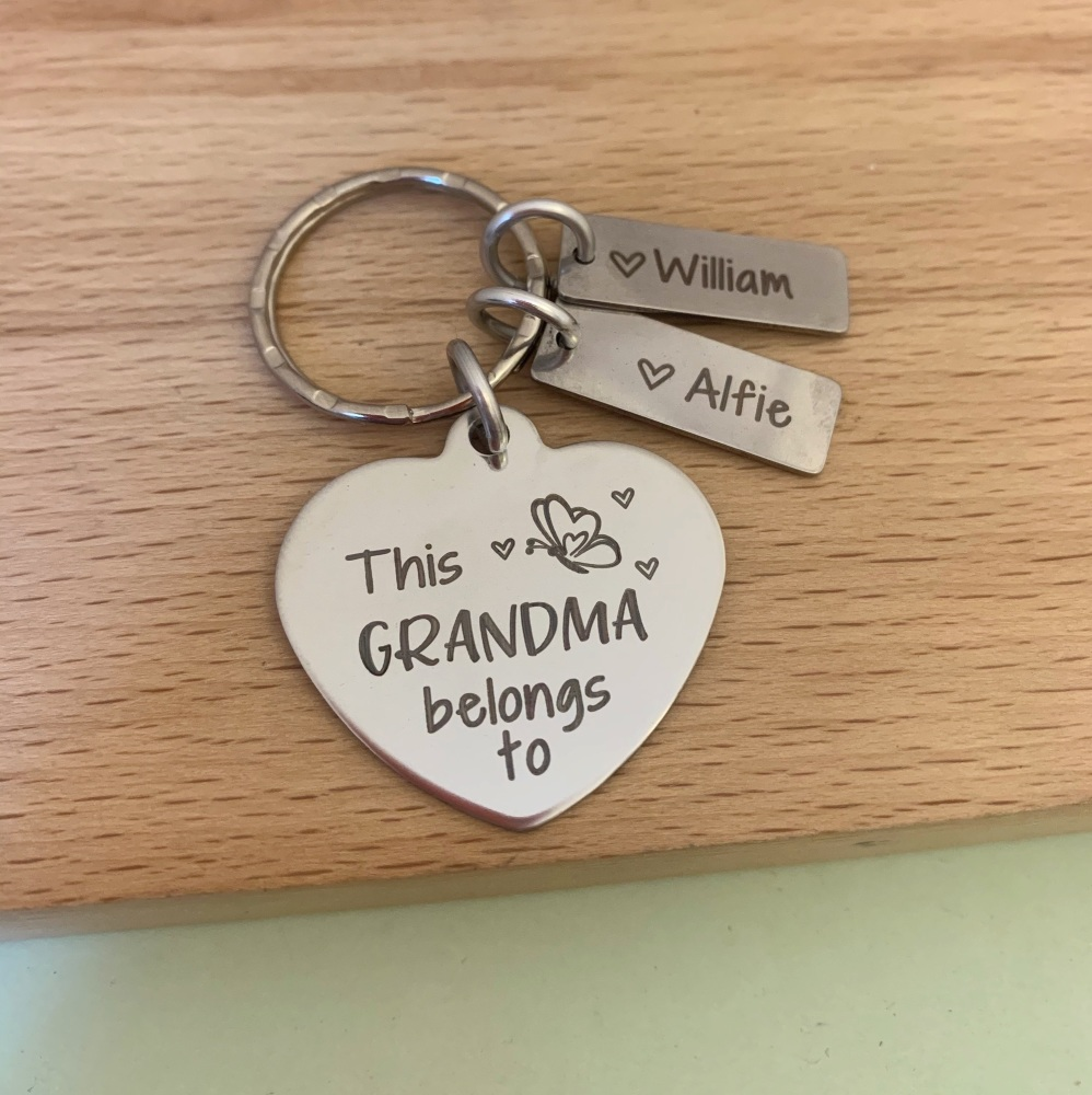 This Grandma Belongs To Personalised Heart Keyring with Butterfly