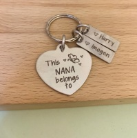 This Nana Belongs To - Personalised Heart Keyring with Butterfly