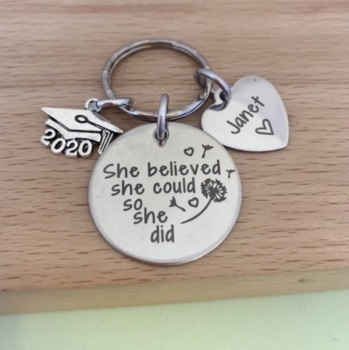 Personalised Graduation Disc Keyring For Her - She Believed She Could So She Did