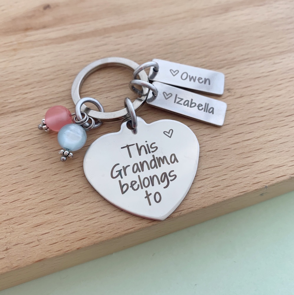 This Grandma Belongs To Keyring - With Beads