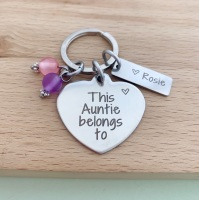 This Auntie Belongs To Keyring - With Beads